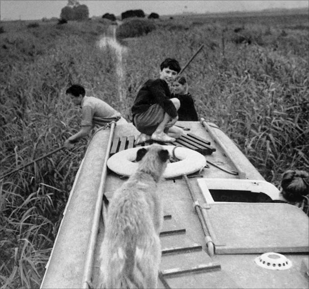 King's Dyke on The Middle Level in 1963 - a sturdy boat pole was an absolute necessity.
