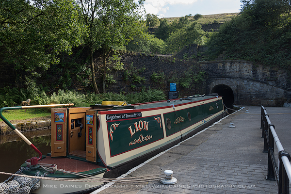"""Lion"" moored for the night at the Standedge entrance."